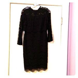 Marina black lace eyelash dress